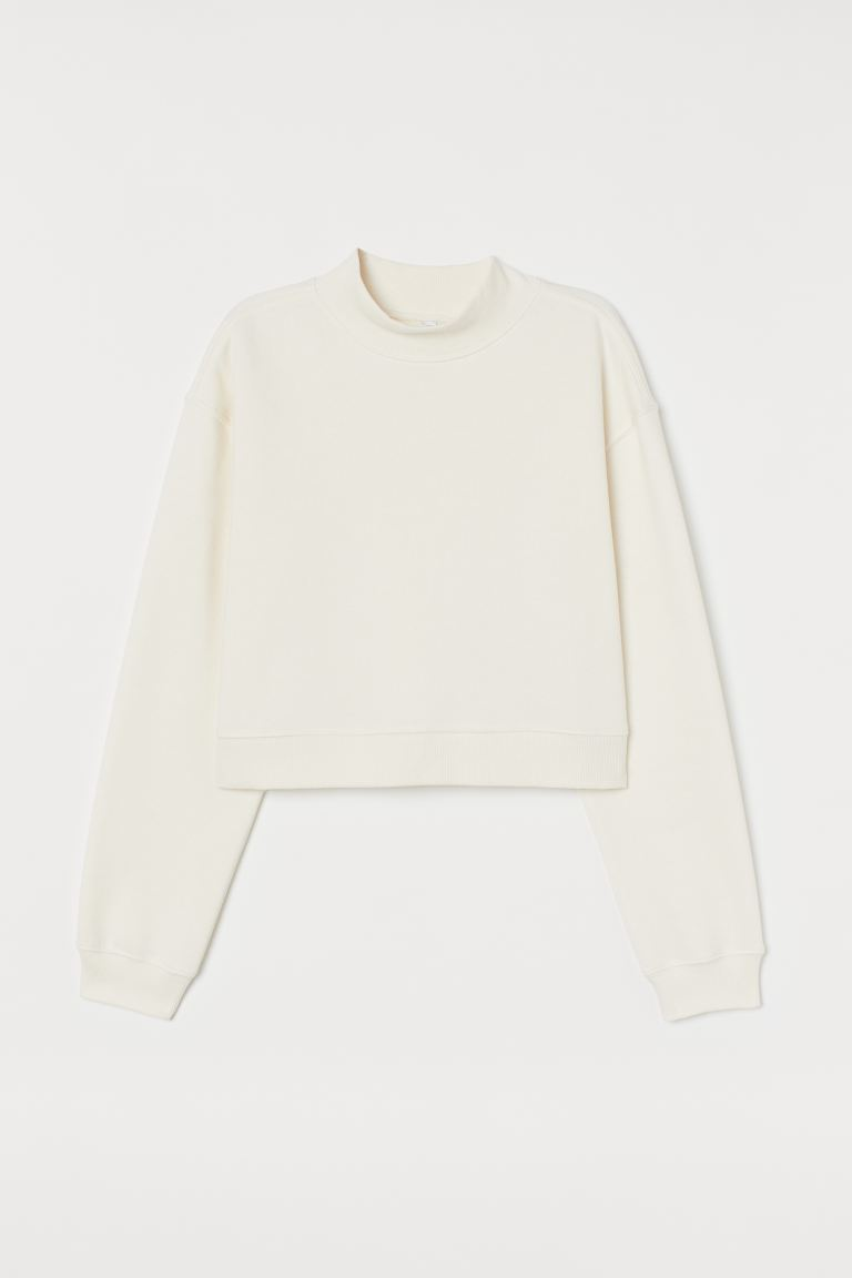 Cropped sweatshirt - Cream - Ladies | H&M