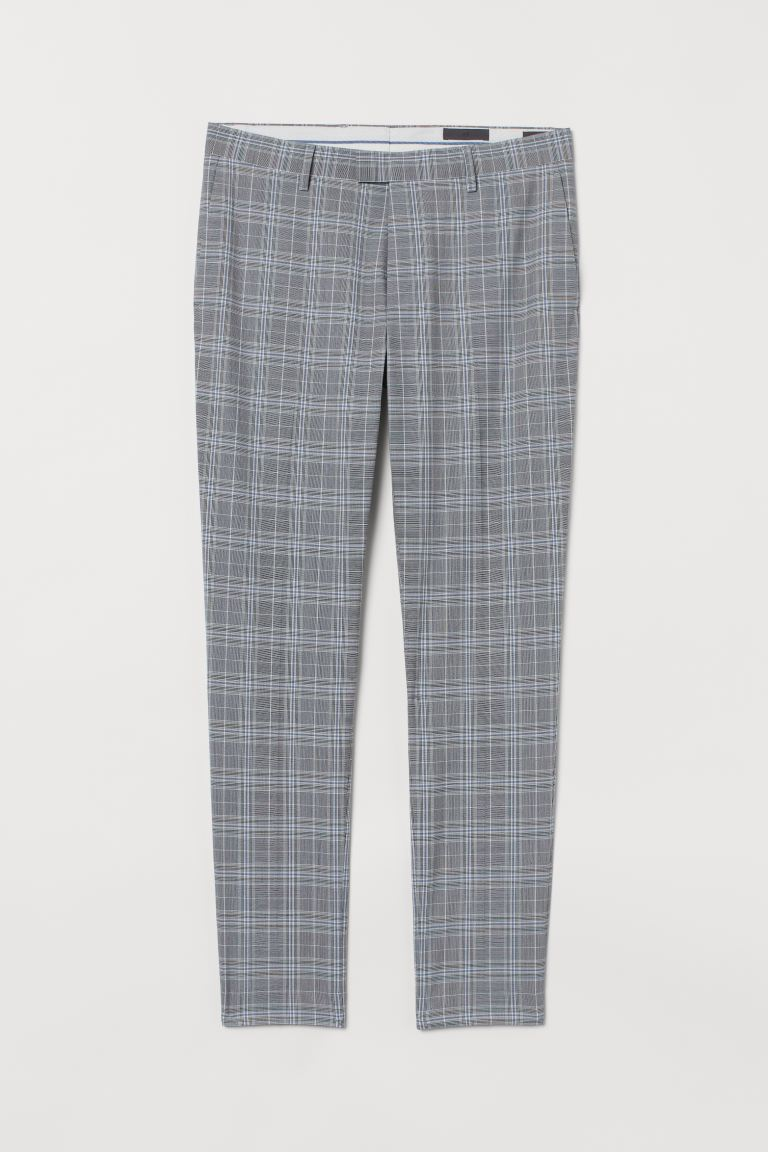 Suit trousers Skinny Fit - Light grey/Checked - Men | H&M