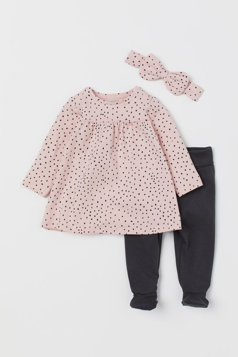 3-piece cotton set - Powder pink/Spotted - Kids | H&M