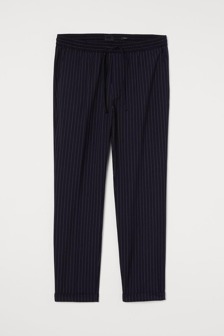 Slim Fit Joggers - Dark blue/chalkstripe - Men | H&M CA