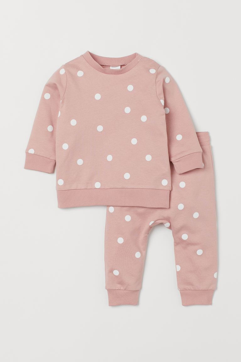 Sweat-shirt et pantalon - Rose clair/pois - ENFANT | H&M BE