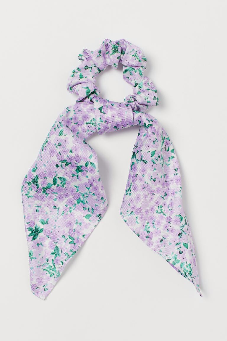 Scarf-detail Scrunchie - Light purple/floral - Ladies | H&M CA