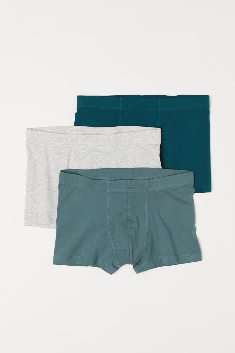 3-pack short trunks - Dark green/Light grey marl - Men | H&M
