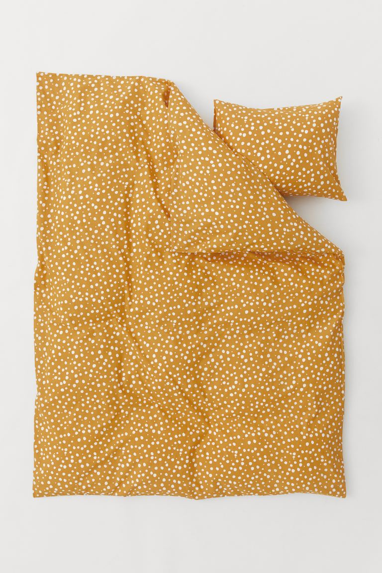 Patterned Duvet Cover Set - Dark yellow - Home All | H&M US