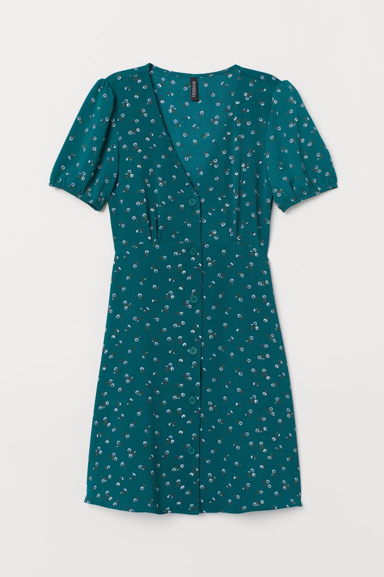 Crêped Dress - Dark green/floral - Ladies | H&M US