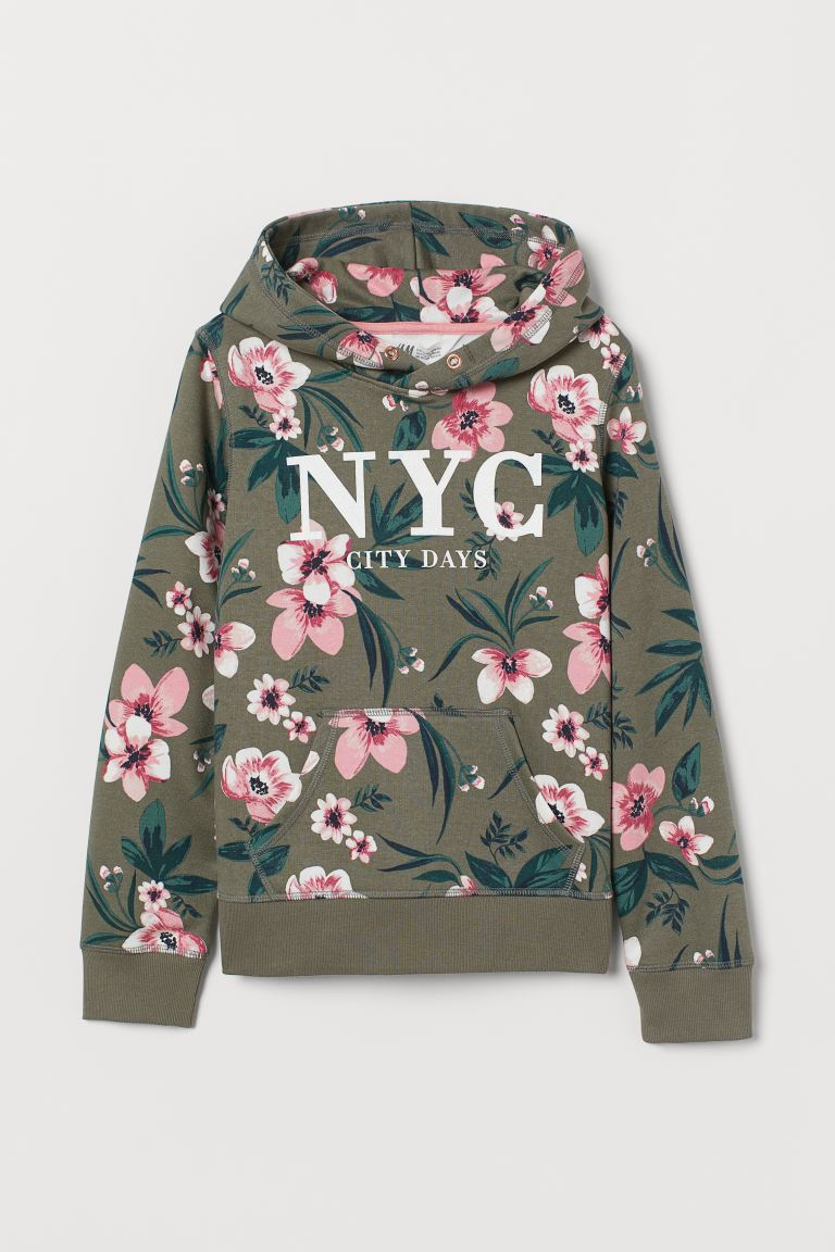Hooded top with a motif - Khaki green/NYC - Kids | H&M