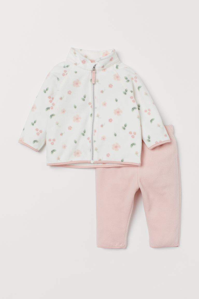 Fleece jacket and trousers - Light pink/Floral - Kids | H&M IN
