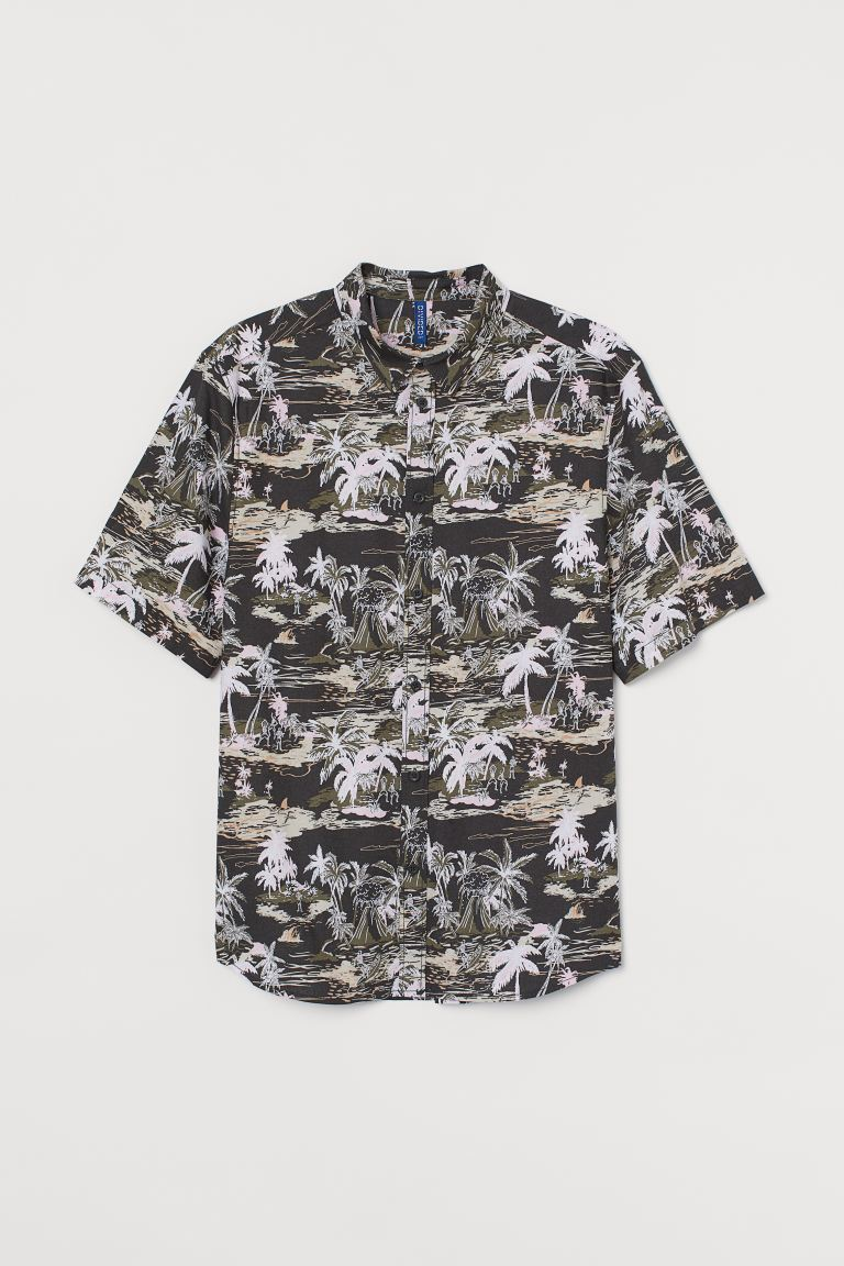 Patterned cotton shirt - Dark grey/Palm trees -  | H&M GB