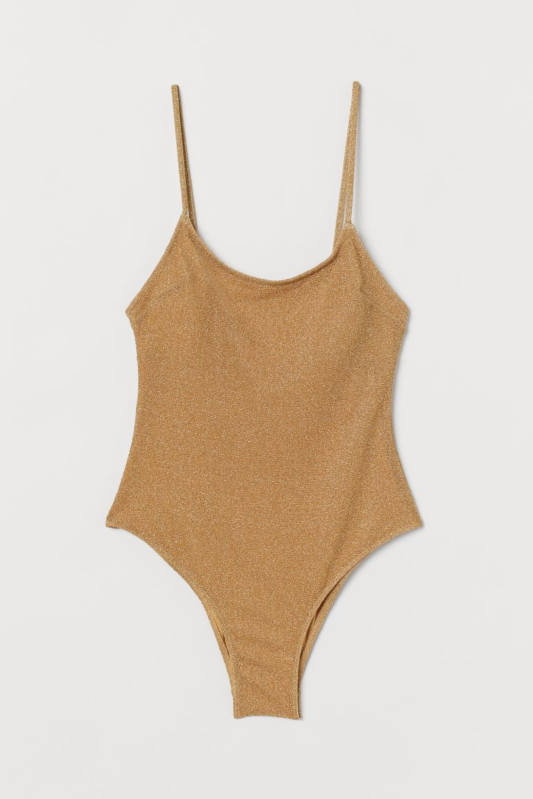 Swimsuit with padded cups - Gold-coloured/Glitter - Ladies | H&M