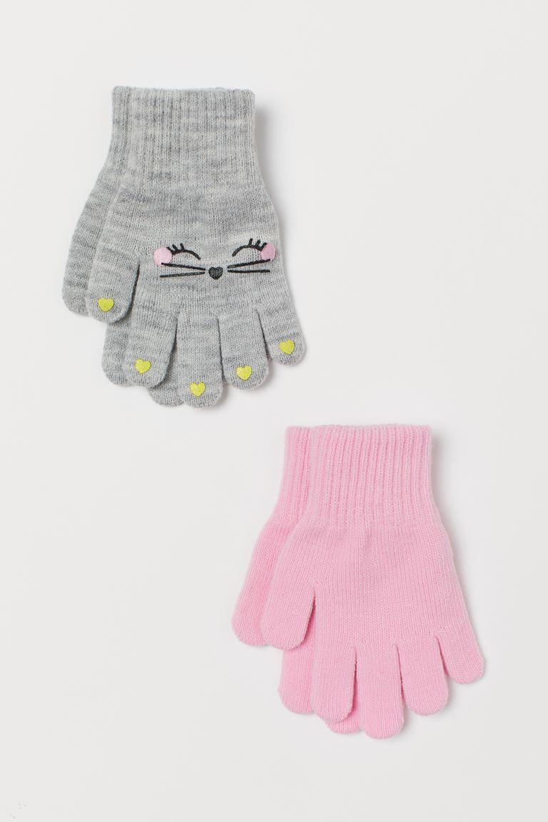 2-pack gloves - Light grey marl/Cat - Kids | H&M GB