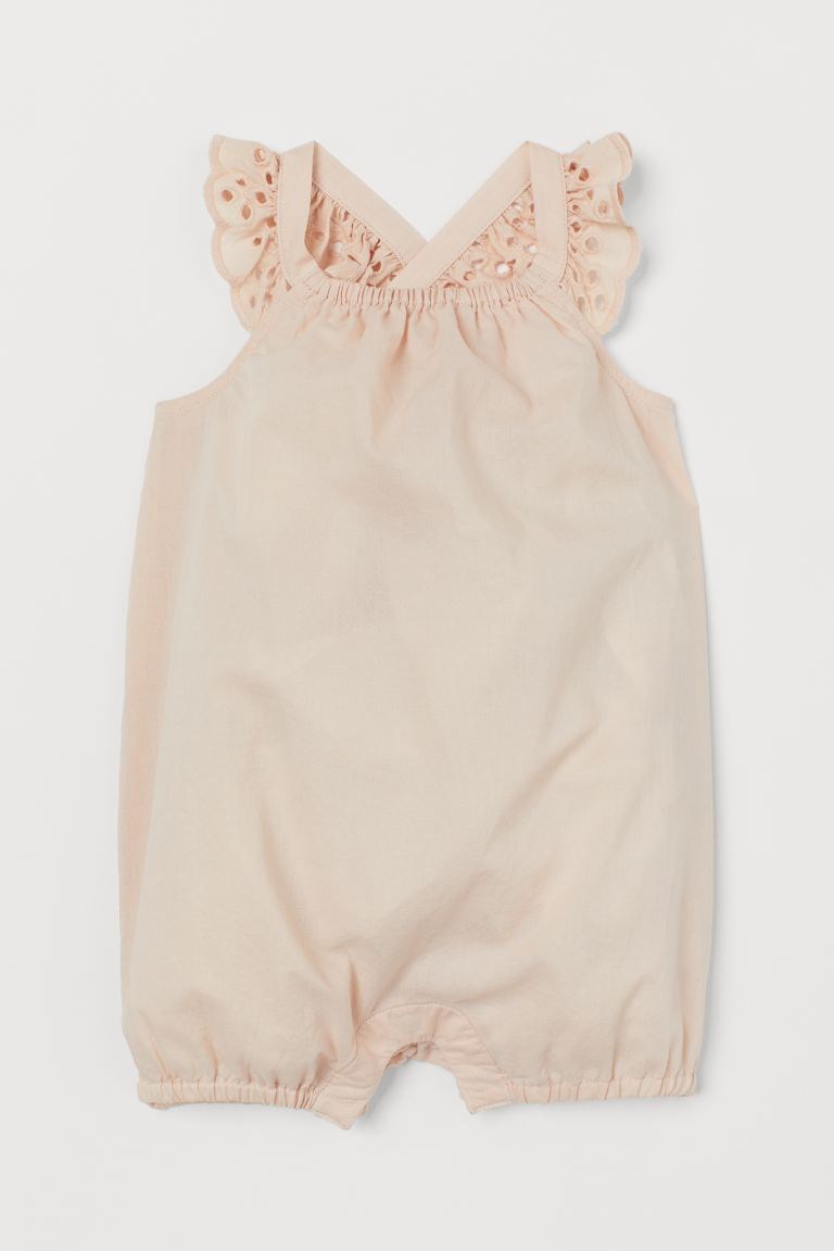 Cotton romper suit - Light powder pink - Kids | H&M