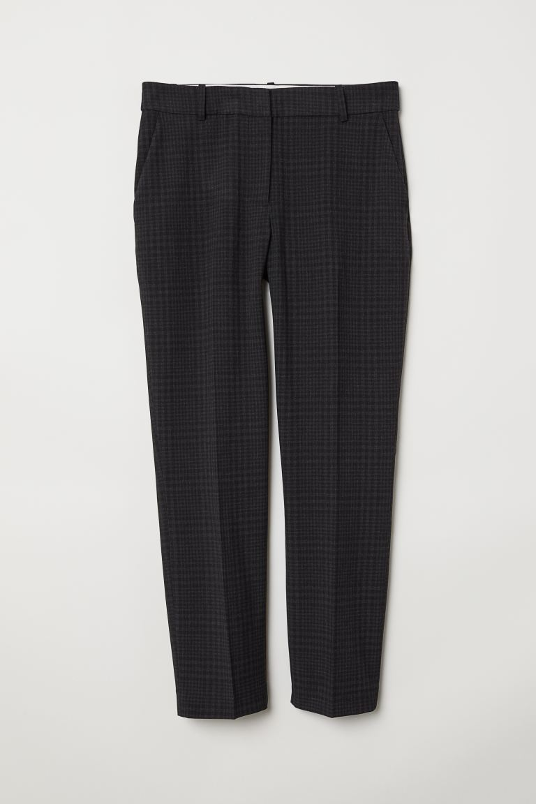 Cigarette trousers - Dark grey/Checked - Ladies | H&M GB