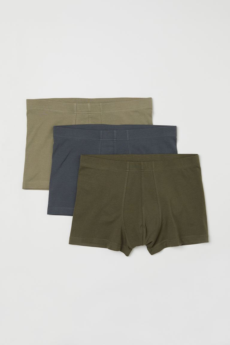 3-pack short trunks - Khaki green/Dark grey - Men | H&M