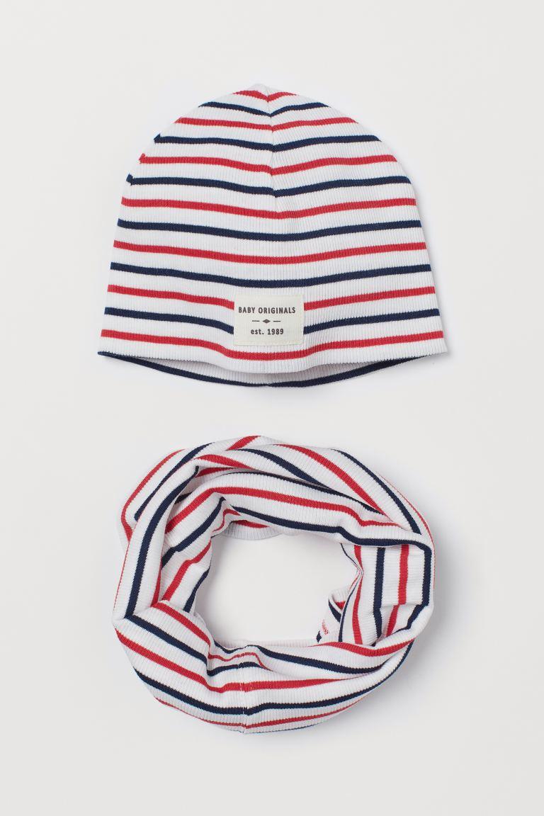 2-piece cotton set - White/Striped - Kids | H&M GB