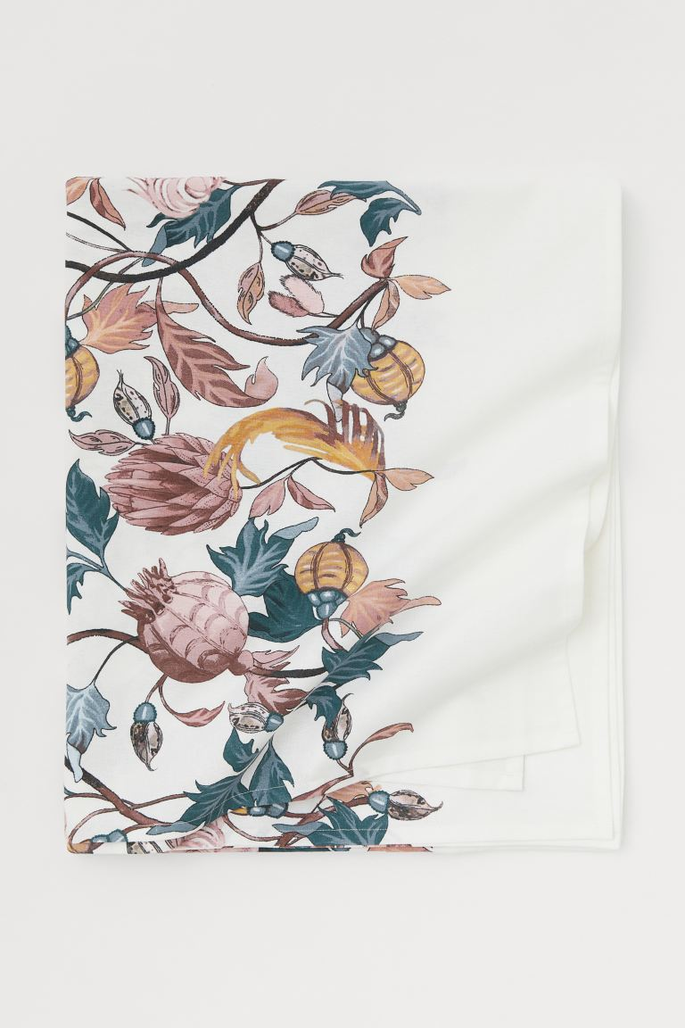 Patterned Cotton Tablecloth - White/floral - Home All | H&M CA