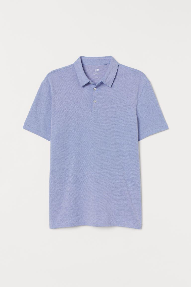 Polo shirt Slim Fit - Blue/Narrow-striped - Men   H&M GB