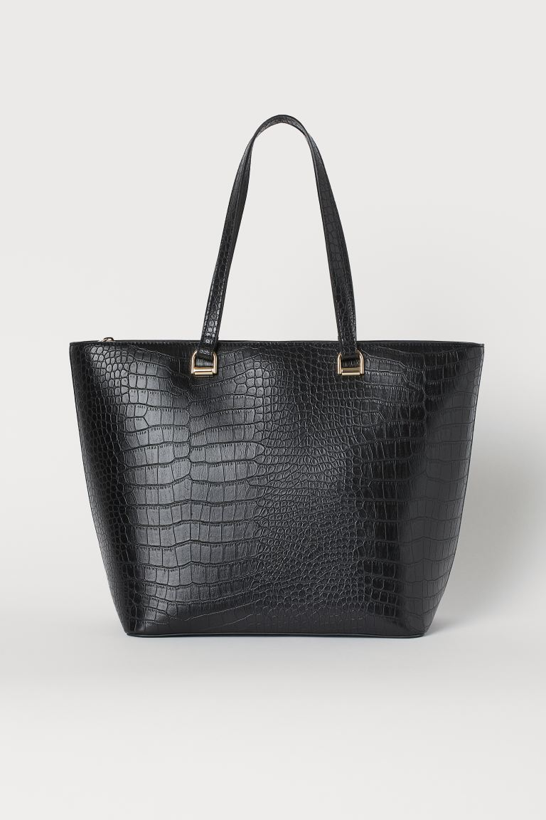 Crocodile-patterned shopper - Black - Ladies | H&M IN