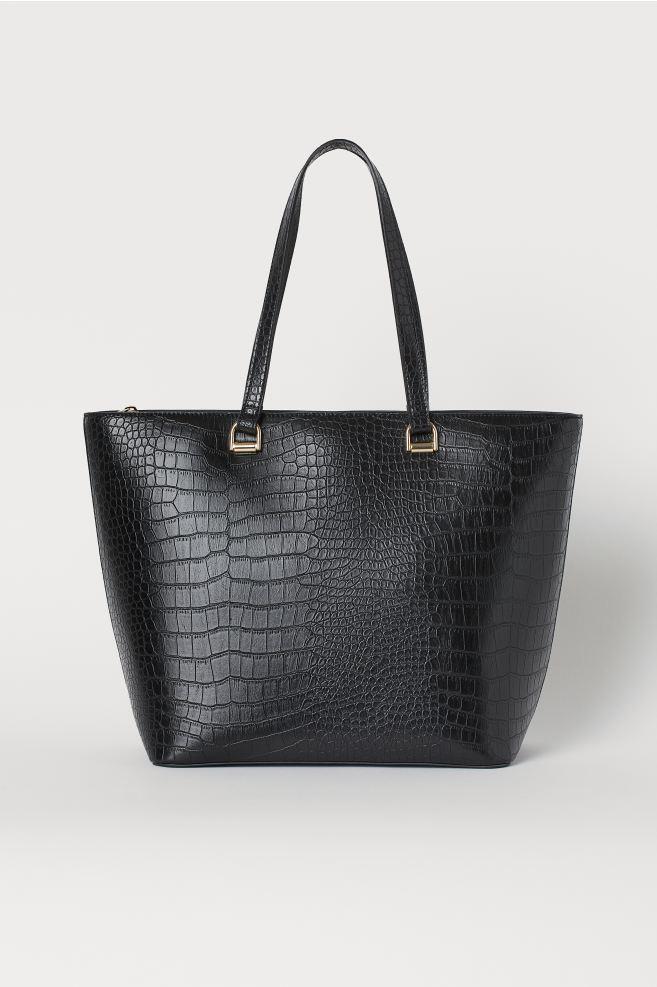 Crocodile-patterned Shopper - Black - Ladies | H&M US 1