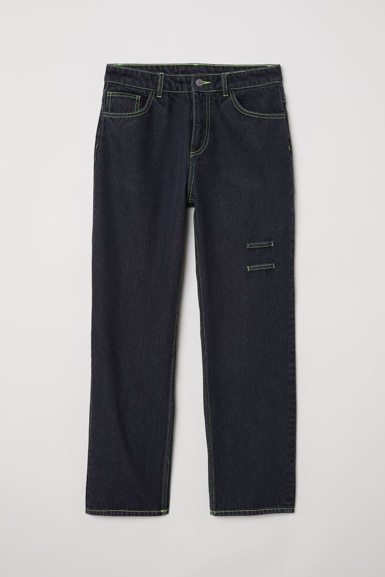 Straight Relaxed Jeans - ブラック washed out - レディース | H&M JP