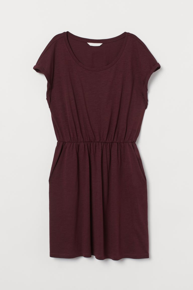 Jersey Dress - Burgundy - Ladies | H&M CA