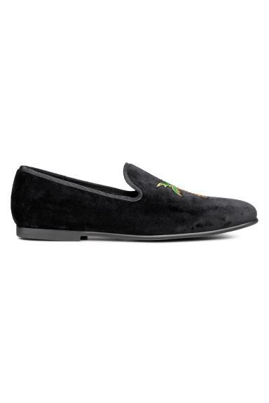 Velour loafers - Black/Palm tree - Men | H&M