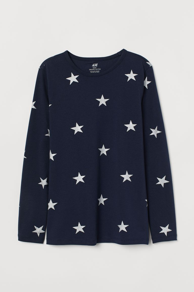 Jersey Top - Dark blue/stars - Kids | H&M CA