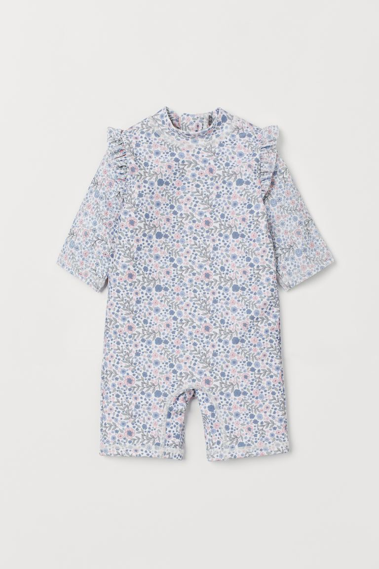 Swimsuit with UPF 50 - White/Small flowers - Kids | H&M