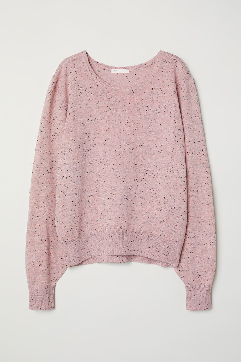 Fine-knit jumper - Light pink/Nepped - Ladies | H&M GB