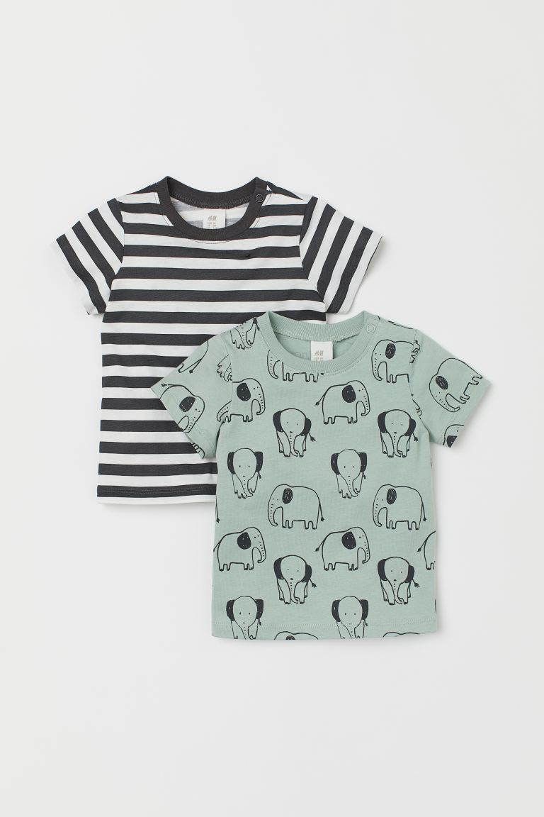 2-pack jersey T-shirts - Light green/Elephants -  | H&M