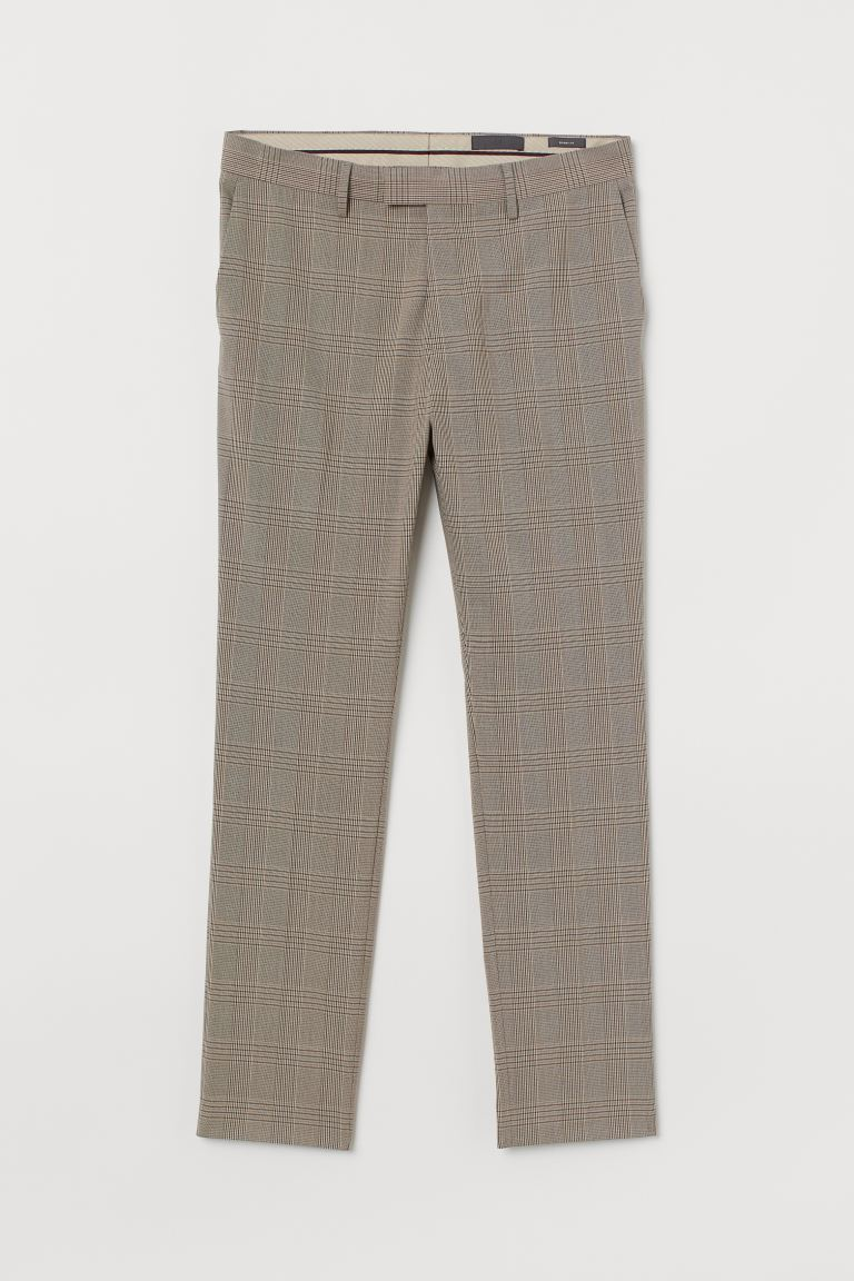 Suit trousers Skinny Fit - Beige/Checked - Men | H&M