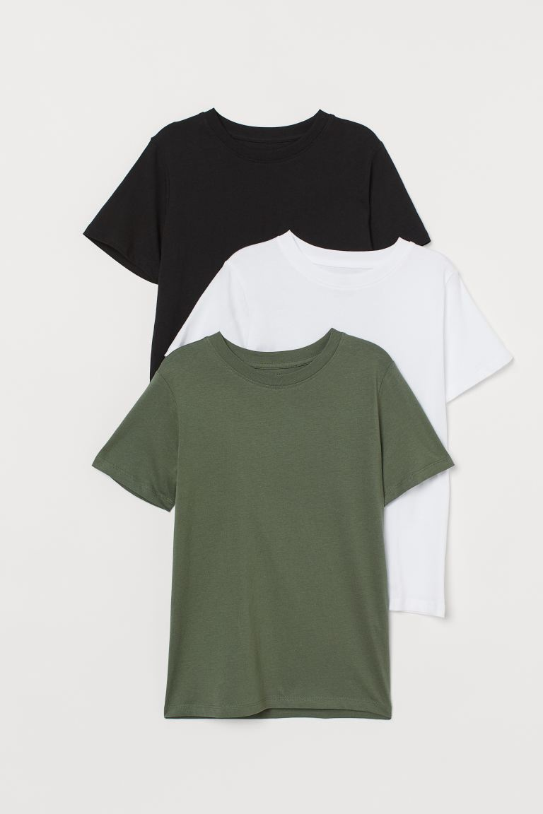 3-pack T-shirts - Dark khaki green/White/Black - Kids   H&M GB