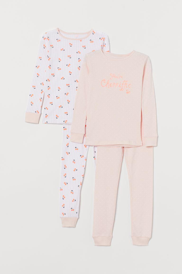2-pack Jersey Pajamas - Light pink/cherries - Kids | H&M US