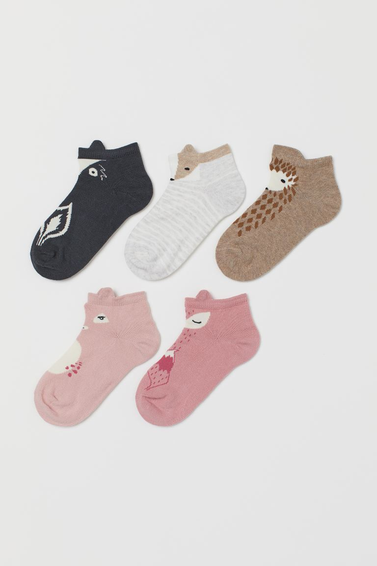 5-pack trainer socks - Light beige/Animals - Kids | H&M IE