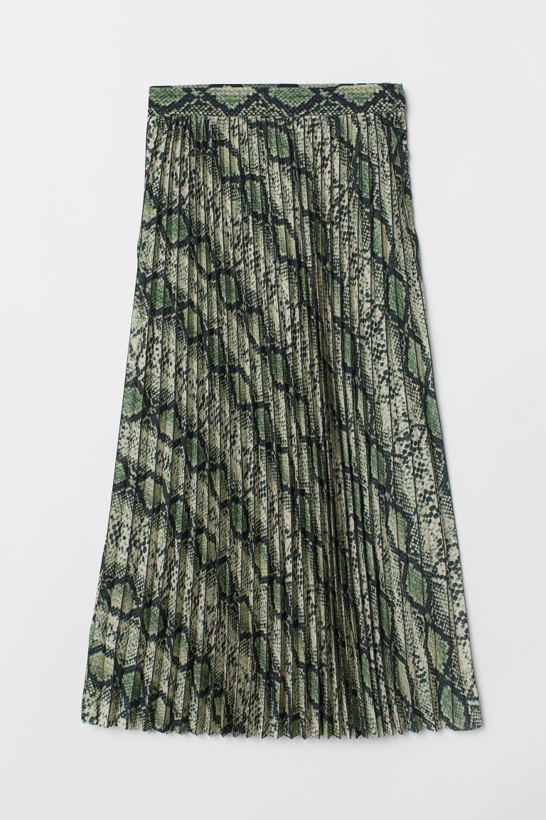 Pleated skirt - Khaki green/Snakeskin-pattern - Ladies | H&M IE