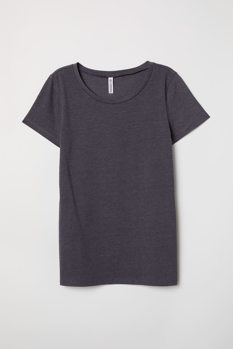 Cotton T-shirt - Dark blue melange - Ladies | H&M US