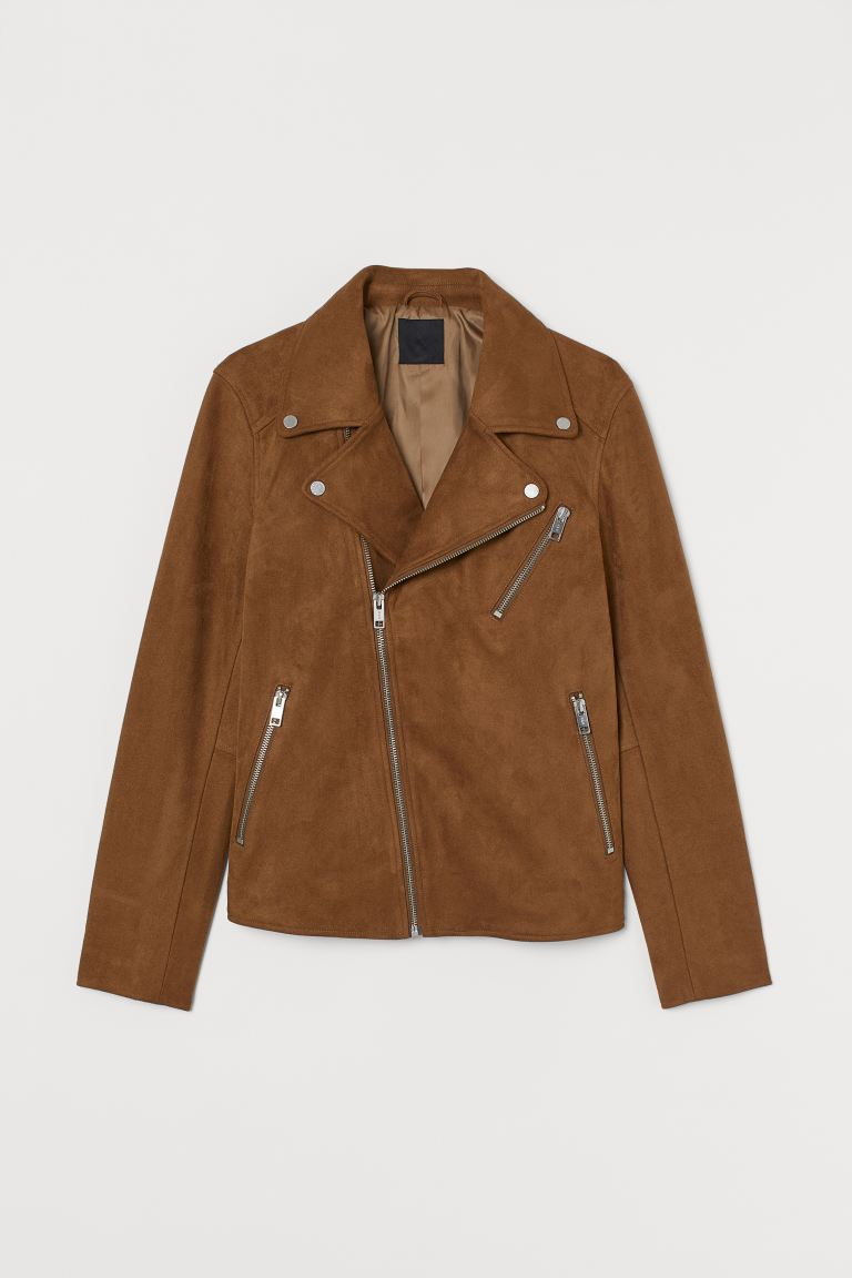 Biker jacket - Brown/Imitation suede - Men | H&M GB