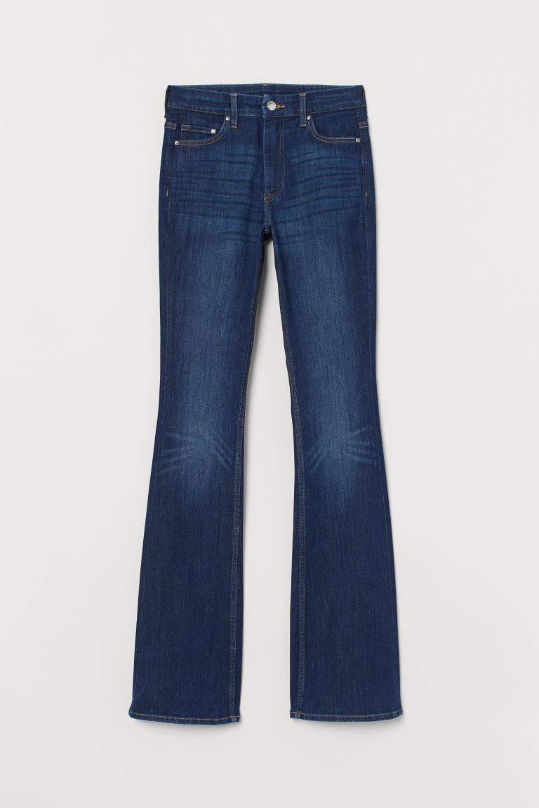 Flared High Waist Jeans - Donker denimblauw - DAMES | H&M NL