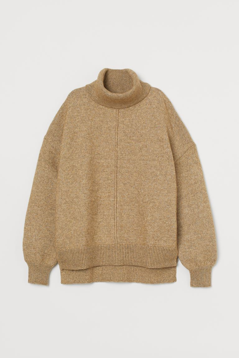 Knit Turtleneck Sweater - Light olive green - Ladies | H&M US