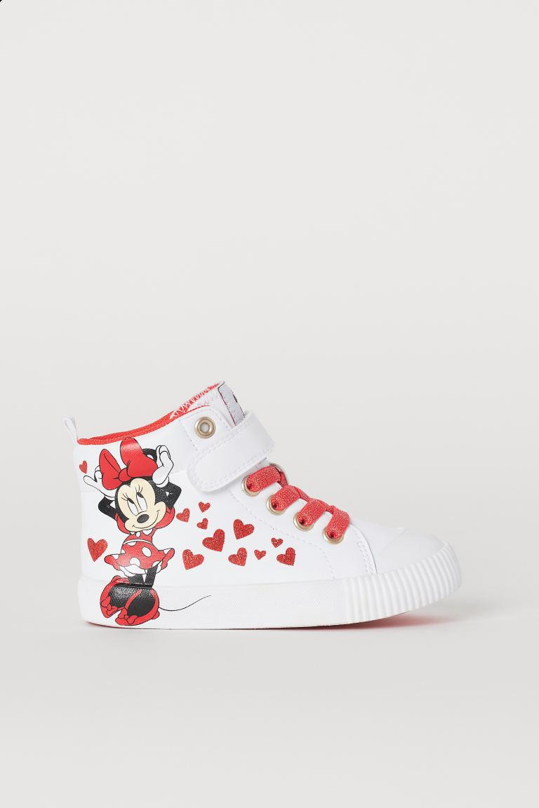 Printed hi-tops - White/Minnie Mouse - Kids | H&M GB