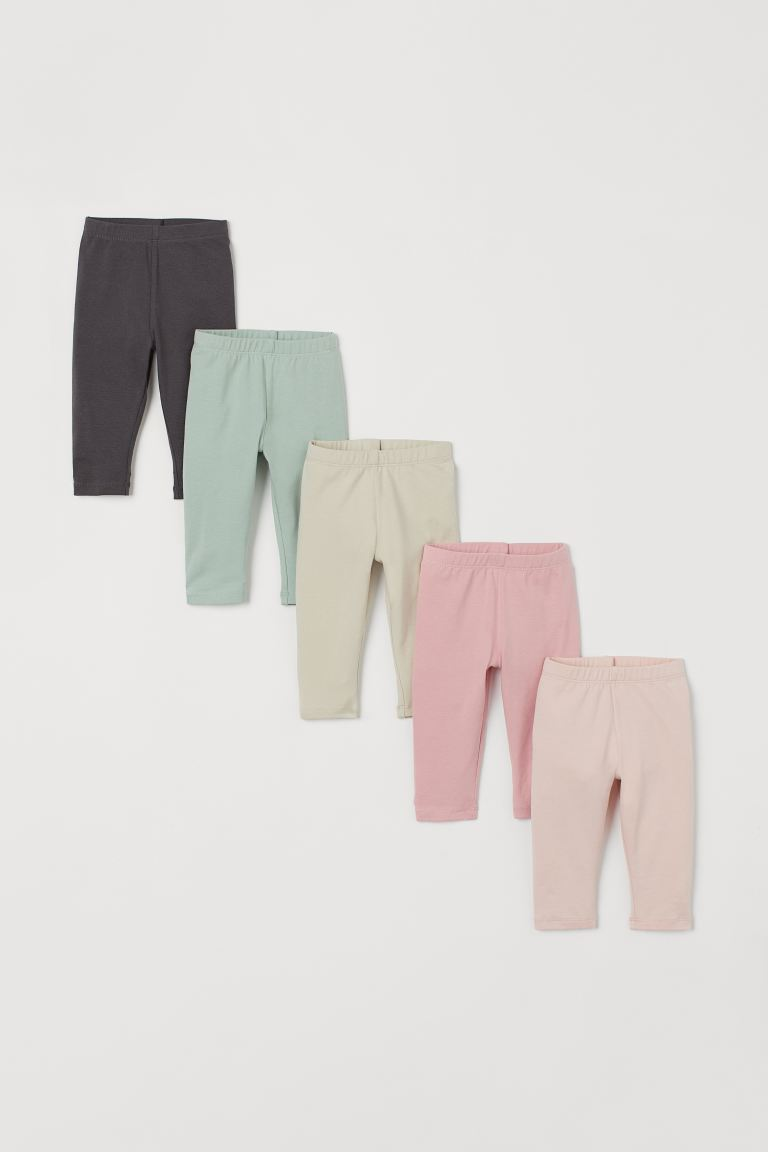 5-pack jersey leggings - Light beige/Multicoloured - Kids | H&M