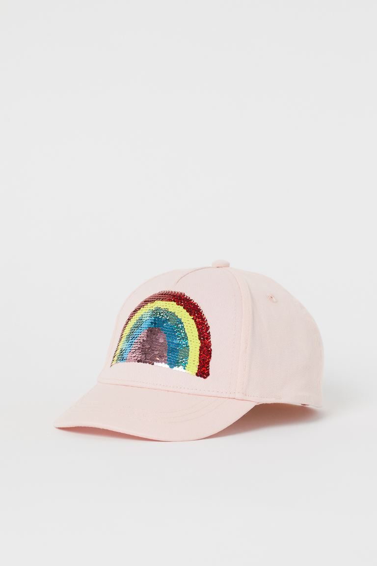 Motif-detail cap - Light pink/Reversible sequins - Kids | H&M GB