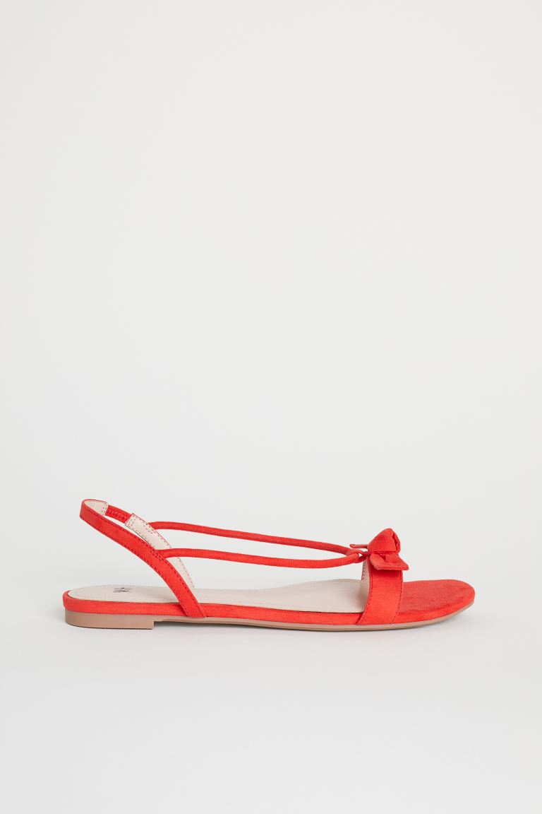 Sandals with a bow - Red - Ladies | H&M GB