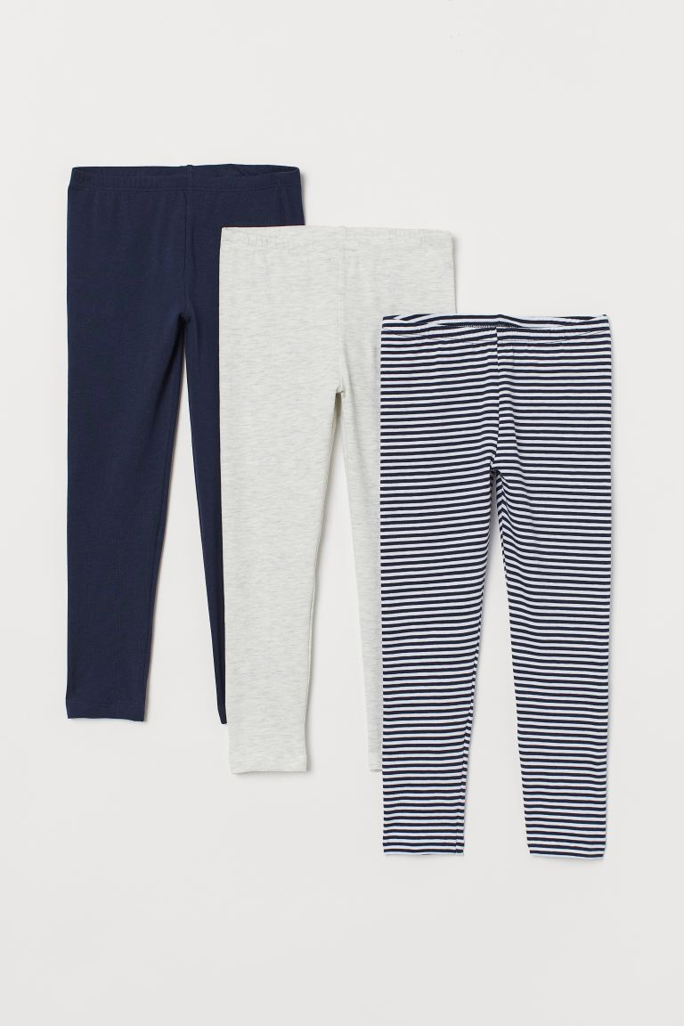 Leggings en jersey, lot de 3 - Bleu marine/rayé - ENFANT | H&M BE