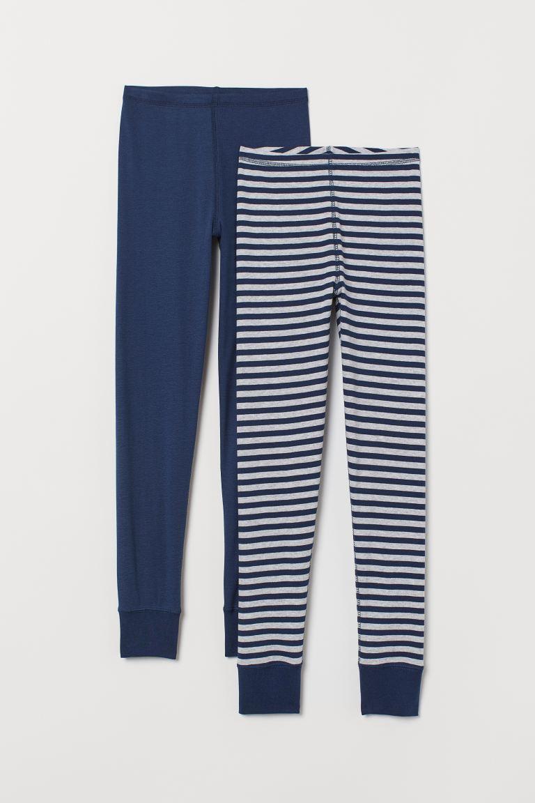 2-pack longjohns - Grey marl/Dark blue - Kids | H&M GB