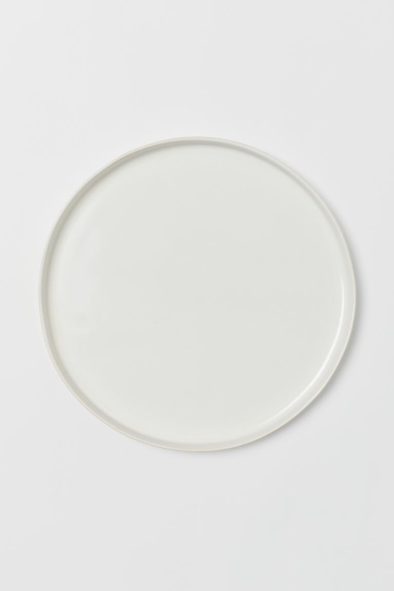 Large Stoneware Plate - Natural white/glossy - Home All | H&M US