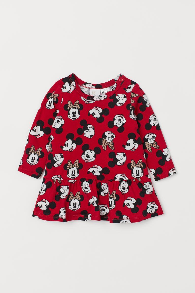 Patterned flounced dress - Red/Minnie Mouse -  | H&M IN