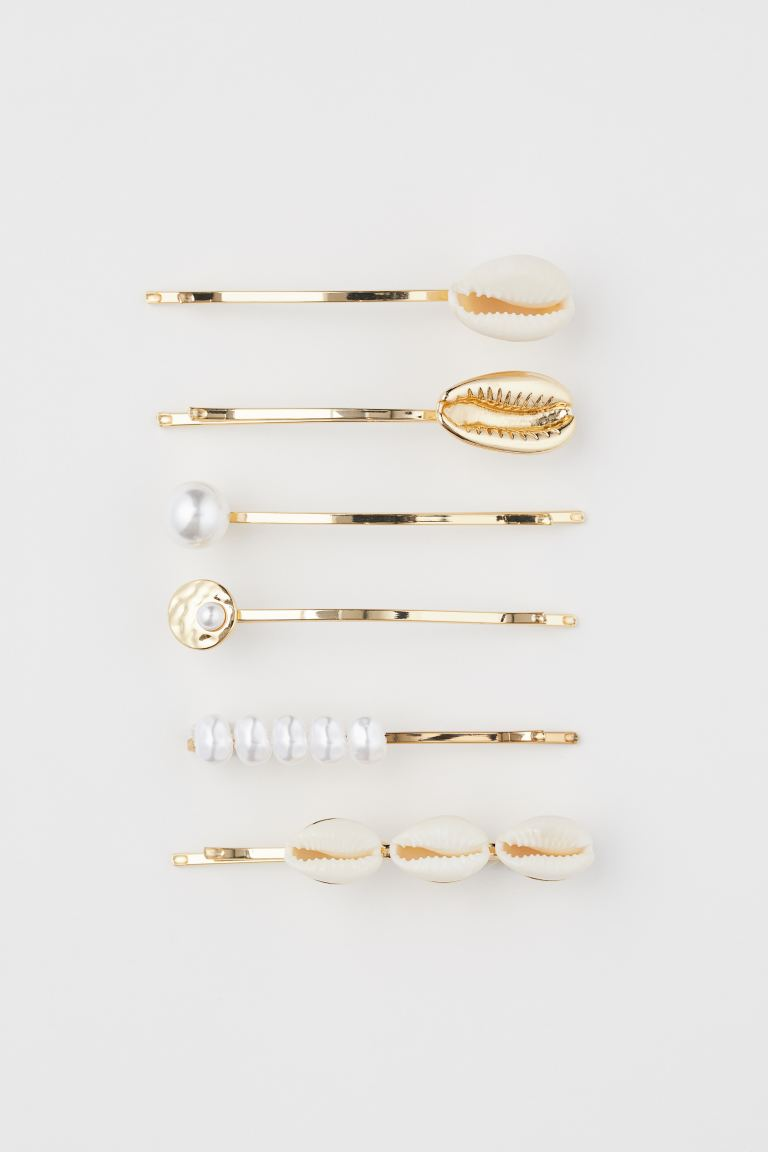 6-pack hair clips - Gold-coloured/White - Ladies | H&M GB