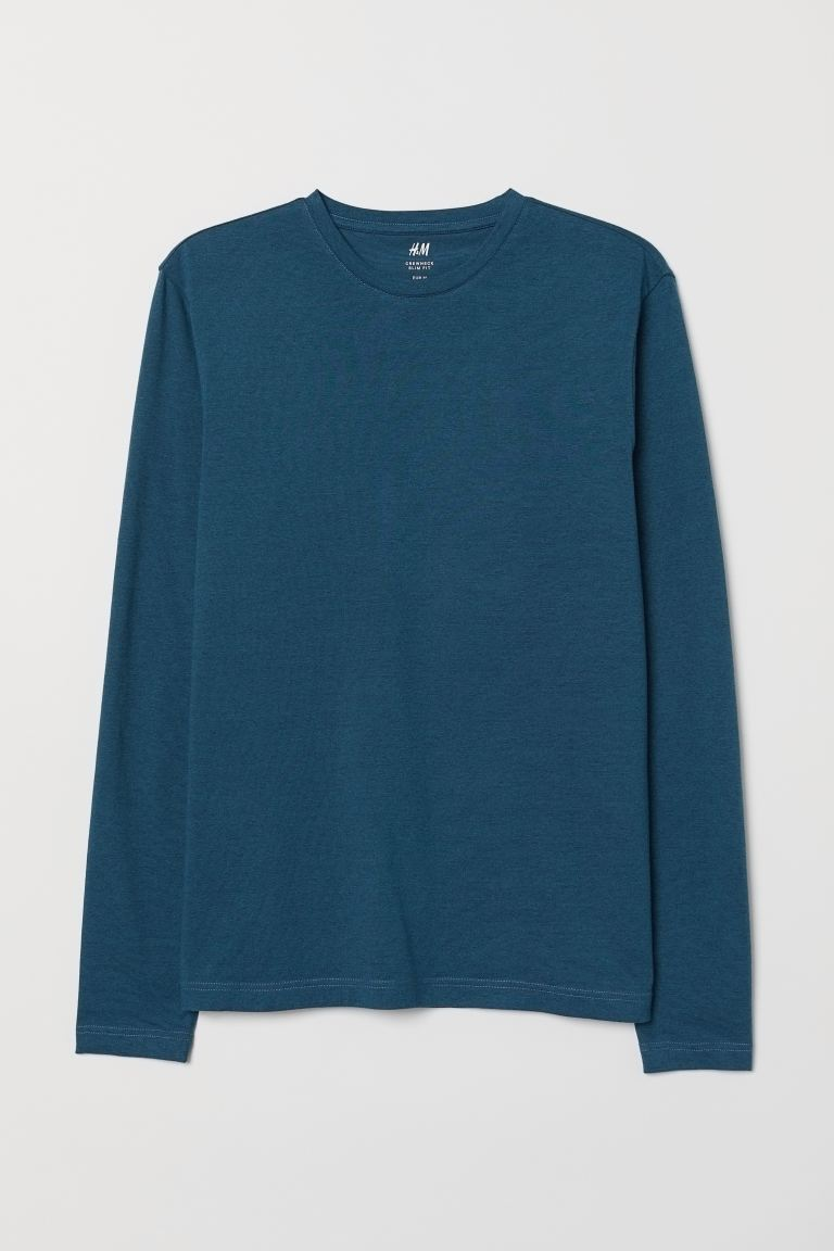 Playera Slim Fit - Dark turquoise - Men | H&M US