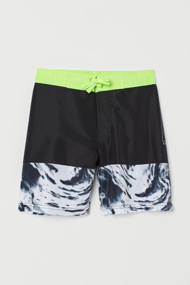Swim shorts - Black/Patterned -    H&M GB