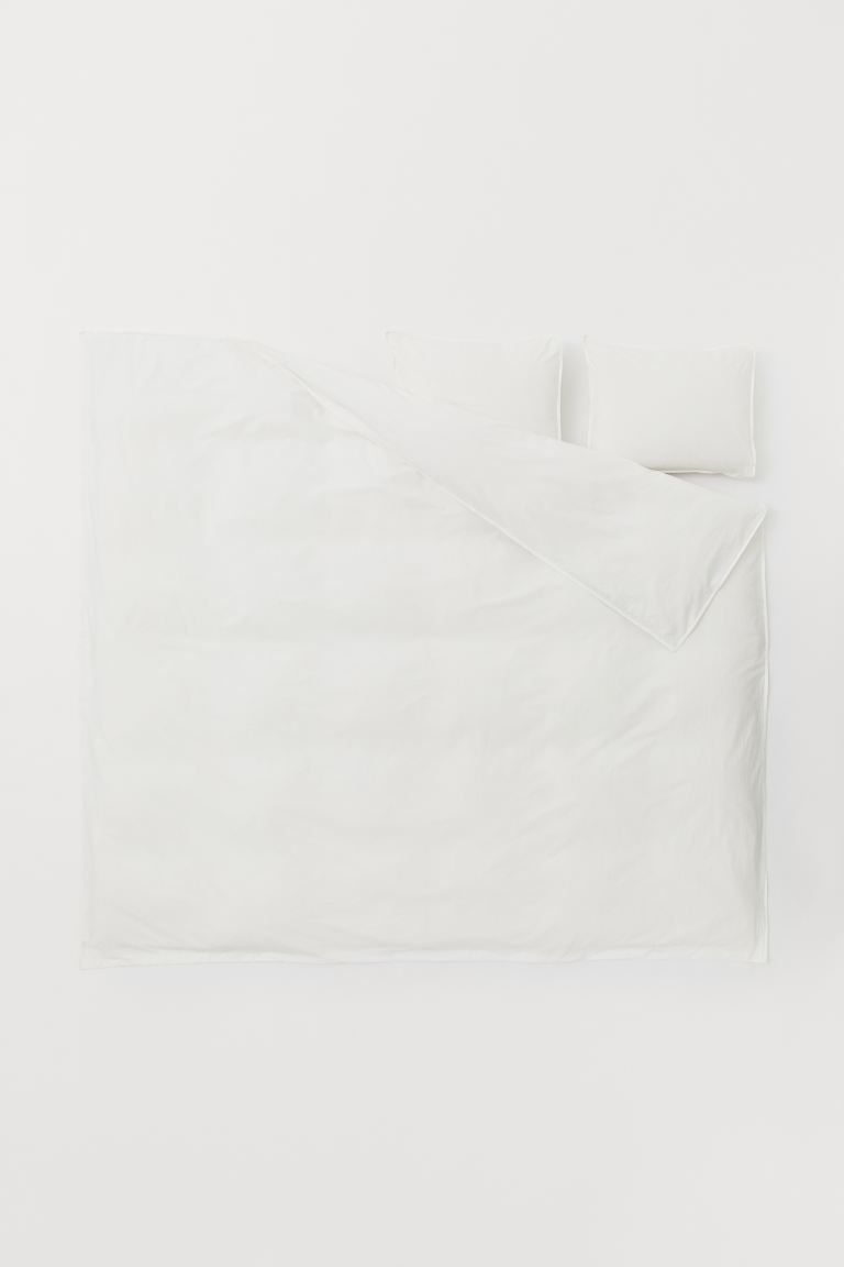 Washed Cotton Duvet Cover Set - Natural white - Home All | H&M CA